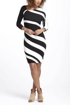 Diagonal Structural Line Dress Fashion Curves Clothing Column Dress
