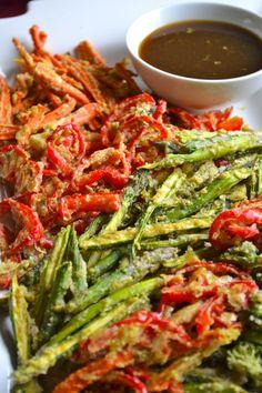 Raw asian feast including - Raw Gluten Free Veggie Tempura using Dehydrator