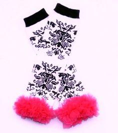 Black Damask Leg Warmers With Hot Pink Ruffle sparkleinpink.com