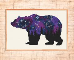 Woodland cross stitch pattern Space cross stitch Forest Bear cross stitch Galaxy Animal Night sky embroidery Counted Cross Stitch PDF