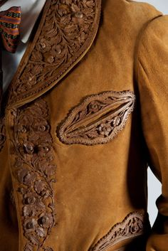 A detail from a grand gala charro suit. (Courtesy of Alejandra Fernandez Capistran) Mexican Fashion, Mexican Outfit, Traditional Mexican Dress, Traditional Dresses, Mexican Art, Mexican Style, Charro Suit, Leather Fashion, Mens Fashion