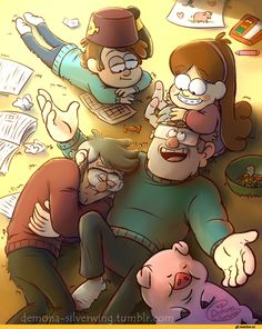 Waddles,Dipper Pines,Mabel Pines,Stanley Pines,Stanford Pines