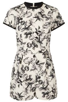 Black and white floral playsuit @Topshop