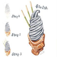 "Connie Au on Instagram: ""26 octobre 2018 Step by step black sesame taiyaki in watercolour 👉🏻 swipe for more 水彩黑芝麻雪糕鯛魚燒步驟👉🏻向右掃看更多 • • • Everything looks cuter and…"" Watercolor Cake, Watercolor Drawing, Dessert Illustration, Illustration Art, Dorm Art, Food Sketch, Food Painting, Painted Cakes, Food Drawing"