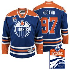 Edmonton Oilers Connor McDavid  97 Navy Blue Inaugural Season Patch Premier  Jersey 0407eba05