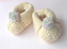 Hand knitted Baby Booties Granny Slippers by NAttic on Etsy, £9.00