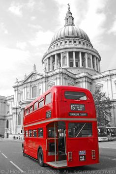 Red London bus & St Pauls © J Horak-Druiff 2009 London Bus, London Life, Life Pictures, Cool Pictures, Travel Around The World, Around The Worlds, Bus City, London Painting, East End London