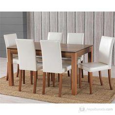 6 Sandalyeli Ortadan Açılır Masa Sandalye Takımı - Hareli Fiyatı