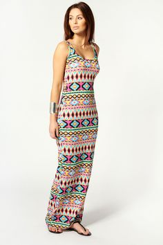 Tribal Aztec Summer Style - Annie Multi Aztec Print Scoop Neck Maxi Dress in Colors to Love on   eBay #summerlove