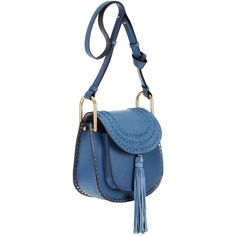 Chloé Hudson Small Leather Shoulder Bag (28.209.995 IDR) ❤ liked on Polyvore featuring bags, handbags, shoulder bags, blue handbags, chloe handbags, leather handbags, leather purse and chloe purses