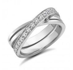 844a455317a4 18ct White Gold Cross Over Wedding Ring Anillos De Oro Blanco