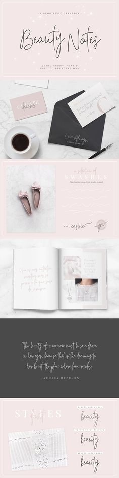 Beauty Notes Script   Illustrations by Blog Pixie on @creativemarket