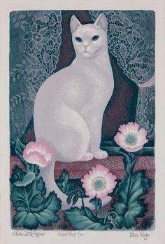 Eileen Mayo (1906 - 1994) White Cat and Poppies
