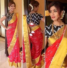 Shilpa Shetty's Alluring Traditional Saree Looks – Fashion in India – Threads Choli Designs, Fancy Blouse Designs, Saree Blouse Designs, Blouse Patterns, Shilpa Shetty Saree, Off White Saree, Dress Indian Style, Indian Wear, Indian Wedding Outfits