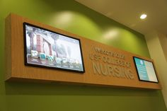 The College of Nursing installed Electronic Message Systemson the first floor at the East and North entrances of the building. The left panel of each system is an interactive touch-screen with many functions. The right panel broadcasts College announcements and messages