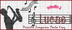 Priscilla Junqueira Cross Stitch: Sax Cross Stitch Music, Cross Stitch Letters, Cross Stitch Embroidery, Le Point, Needlepoint, Bargello, Diy And Crafts, Musicals, Card Making
