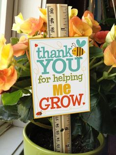 Teacher Appreciation Thank You for Helping ME Grow by starflight - love the tag attached to the ruler, very cute!