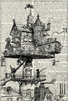 steampunk  18oo's drawing of life in the twentieth par FauxKiss, $10,00