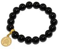 Bransoletka na gumce ze szklanych koralików w kolorze czarnym, z zawieszką w postaci złotej monety.