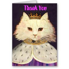 King Cat Vertical card, Thank You