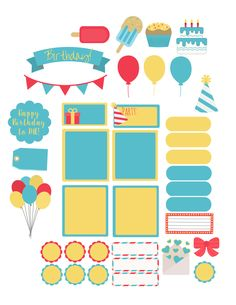 Free Birthday Week Printable Planner Stickers from Amber Downs