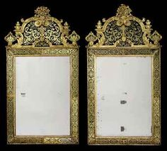 A PAIR OF QUEEN ANNE GILTWOOD AND VERRE EGLOMISE PIER GLASSES CIRCA 1710, ATTRIBUTED TO JOHN GUMLEY OR GERRIT JENSEN Each with rectangular plate surrounded by strapwork border plates and in ribbon-twist frame, with gadrooned arched cresting carved with masks, scrolls and foliage surmounted by a flower-filled basket and flanked by plumes
