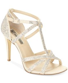 Blue by Betsey Johnson Tee Champagne Glitter Dress Sandals ...