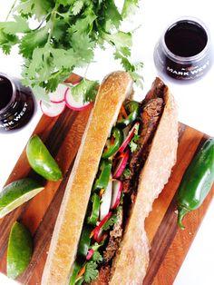 ... for Garlic Steak Banh Mi using marinated flank steak, pickled