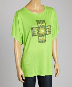 Look what I found on #zulily! Lime Cross cowgirl aztec cross Dolman Top - Women #zulilyfinds