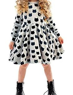 Cheap children dress, Buy Quality child fashion dress directly from China fashion girl dress Suppliers: Hooyi Grey Girls Dresses Fashion Kitty Cat Children Dress Long Girl Jumpers Baby Girl Clothes Outfits Princess Wedding Vestidos Girls Spring Dresses, Girls Black Dress, Cute Girl Dresses, Cat Dresses, Autumn Dresses, Dress Girl, Fashion Kids, Fashion Shoes, Girl Sleeves