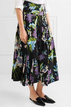 Diane von Furstenberg - Pleated Printed Silk Crepe De Chine Wrap Skirt - Black - US14