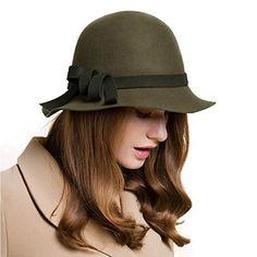 10adf7dc4ec Women 100% Wool Floppy Felt Hats Fedora Church Hat Wide Brim Cloche Bowler  Bowler Cap