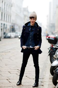 androgynous-  dark skinny jeans, cool black jacket, light colored beanie