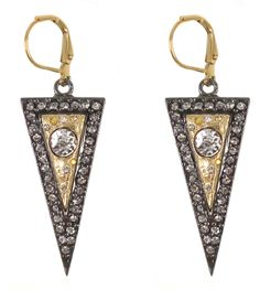 Gunmetal Tagine Earrings w/ gold insert & MC crystals