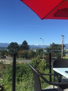 View of the snow on the mountains in the distance, Blackfin Pub, 132 Port Augusta St, Comox, Bri