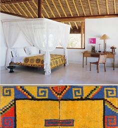 South and Central American Textiles, ethnic interiors, spanish, yellow bed cover, indian textiles, south american interior design, decorating