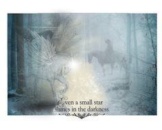 """Misty meeting"" by landoflaces on Polyvore featuring sztuka, Winter, fantasy, unicorn, Pegasus i Horse"