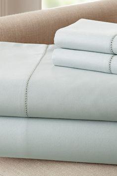 400 Thread Count Egyptian Cotton Single Hole Hem Sheet Set - Blue