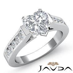 Heart Diamond Channel Set Engagement Multi Shape Ring GIA I VS2 Platinum 1 5 Ct | eBay