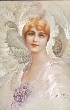 Old Postcard by Giuseppe Guerzoni Art Nouveau, Art Deco, Nostalgic Images, Magazine Illustration, Victorian Women, Classical Art, Old Postcards, Illustrations And Posters, Art Forms