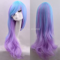 Dd00987 moda Lolita peluca llena ondulada larga del pelo del arco iris colores partido de Cosplay del Anime(China (Mainland))