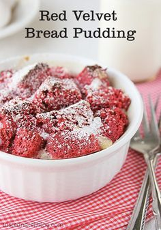 Want to impress your dinner guests? This red velvet bread pudding is not only stunning to look at, but it's pretty darn tasty as well!