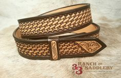 Two-tone basket stamped belt