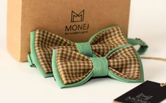 Father Son Bow Tie Set, Christmas Presents, Green Bow Ties, Linen Bowties, Limited Edition Bowtie, Dad Gifts, Fathers day, Custom bowtie