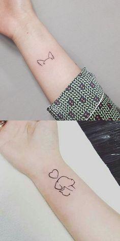 Cute Small Minimal Cat Dog Outline Wrist Tattoo Ideas for Women - Cute Little . - Cute Small Minimal Cat Dog Outline Wrist Tattoo Ideas for Women – Cute Little Minimal Cat Dog Out - Small Dog Tattoos, Cat And Dog Tattoo, Small Tattoos For Guys, Mini Tattoos, Trendy Tattoos, Cute Tattoos, Unique Tattoos, New Tattoos, Tattoo Small