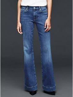 1969 medium indigo authentic flare jeans - I LOVE THE BIG HEM ON THESE.