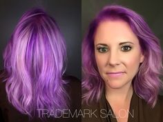 Ansley has taken orchid haze to a whole other dimension of color contouring!  #trademarksalon #myhairisnotpurple #dreamteam #orchidhaze #goldwell