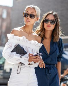 dani and aimee song street style at fashion week. Mode Outfits, Fashion Outfits, Womens Fashion, Fashion Trends, Fashion Clothes, Stylish Clothes, Stylish Outfits, Easy Style, Looks Street Style