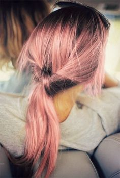 Pastel pink coloured hair - twisted pony