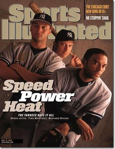 May Yankees. My favorite cover of the modern Yankees era, featuring Tino Martinez, Mariano Rivera and Derek Jeter, just three of an all-star class of players that led New York through a blistering season. Yankees Baby, Damn Yankees, Yankees News, New York Yankees Baseball, Baseball Pics, Derek Jeter Autograph, Sports Magazine Covers, Si Cover, Sports Illustrated Covers